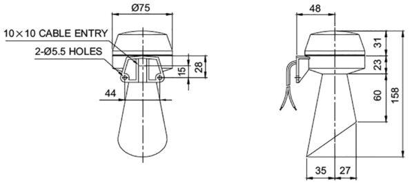 Sygnalizator dźwiękowy trąbka S60ADH - 220V - 100dB!